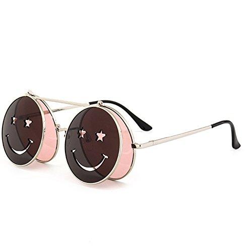 Yiph-Sunglass Sonnenbrillen Mode Steampunk Style Flip-Up-Sonnenbrille für Damen UV-Schutz für Urlaubsreisen im Sommerstrand (Farbe : C2)