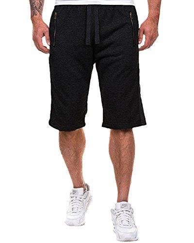 MODCHOK Herren Shorts Kurze Jogging-Hose Sweat-Shorts Hose Bermudas Sportshorts FreizeitShorts Kurzhose (2XL, Schwarz 3) (Sweat Shorts Herren)