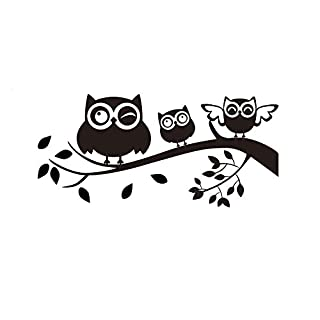 erthome 3D Wallpaper Black Owl Home Decor Decoration Wall Decals Art Home Decor Wall Mural Decals