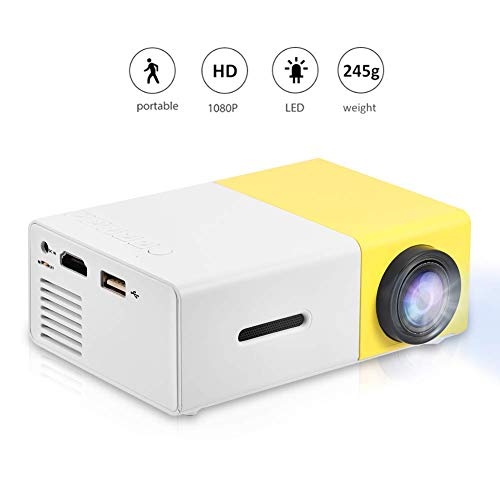 VBESTLIFE Mini Heimkino Portable LED Projektor,HD HDMI Multimedia Player Projektor für Reisen, Camping,Hof, Reisen, Camping,unterstützt HDMI, AV, USB-Eingang(Weiß + Gelb) Hd Portable Mini