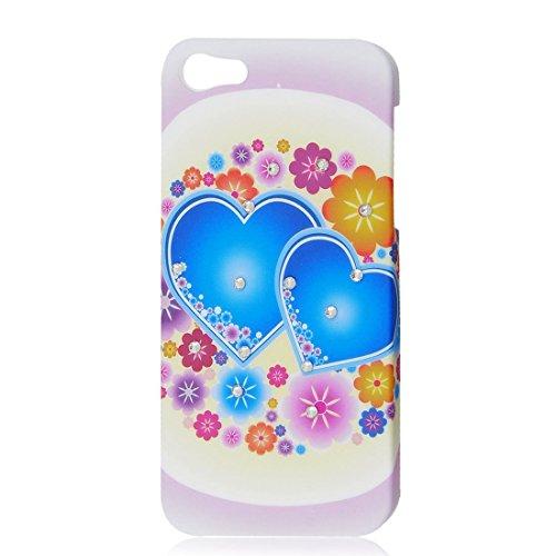 DealMux Glitter Strass-Blau-Herz Bunte Blumen-Harter Fall-rückseitige Abdeckung für iPhone 5G