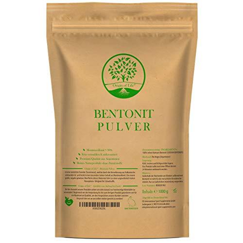 Origin of Life Bentonit Pulver 1000g / 1kg - Montmorillonit > 90% - Einführungspreis - Fein vermahlen & ohne Zusätze - mikronisierter aktivierter Bentonit - Premium Qualität