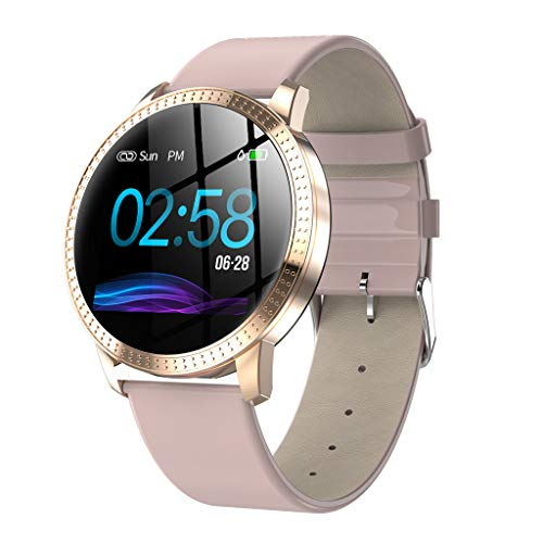 VRTUR Fitness Armband Wasserdicht IP67 Bluetooth Smartwatch Fitness Tracker Herzfrequenz, Blutdruck, Schrittzähler SMS Mobile Whatsapp Edelstahl und Leder Armband Rosa