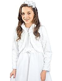 MGT-Shop Mädchen Kommunionbolero Kommunionsbolero Kommunionsjacke Kommunionjacke Cape Bolero Jacke MK-26 weiß