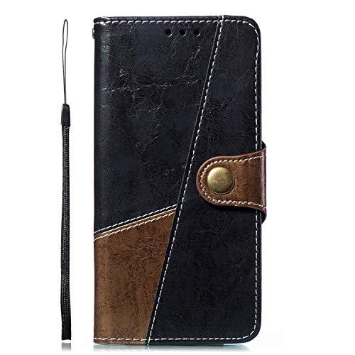 Kompatibel mit Handyhülle Huawei Honor 10 Lite Handytasche Bookstyle Flip Case Leder Tasche Retro Ultradünn Lederhülle Wallet Klapphülle Kunstleder Cover Standfunktion Magnetverschluss,Braun Grau