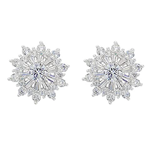 EVER FAITH® 925 Sterling Silver Full Cubic Zirconia Christmas Gift Snowflake Flower Stud Earrings Clear