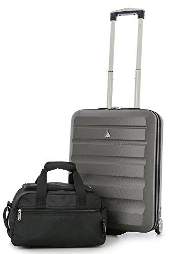 Aerolite 55x40x20 Ryanair Höchstbetrag 2-Rad Leichtgewicht Hartschale Bordgepäck Handgepäck Kabinentrolley Reisekoffer Trolley Koffer + 35x20x20 Zweites Handreisegepäck (Kohlegrau + Schwarz)