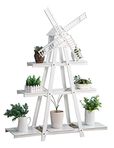 Echotang Bambus Blumenständer Windmühle Blumentopf Display Regal Rack Multilayer Lagerregal,...