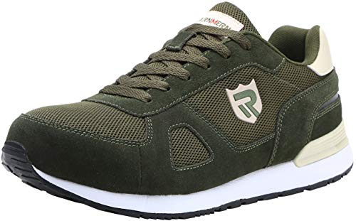 LARNMERN Scarpe Antinfortunistiche da Uomo, Punta in Acciaio Sneakers da Lavoro Leggere ed Eleganti (40 EU, Verde)