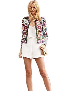 Internet Frauen mit Blumenmuster Kurze Jacke Langarm Oberbekleidung