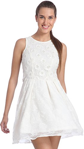 Only Women's White Colored Party Wear Wear A Line Dress