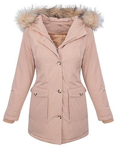 Designer Damen Jacke Parka Winterjacke Outdoorjacke Damenmantel Damenparka Damenjacken Kunstpelz Kapuze Warm Gefüttert Lang D-350 Rosa M