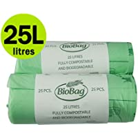 25 Litre x 50 Compostable Caddy Bags - Biobag Kitchen Food Waste Compost Liners 25L - EN 13432 - Biobags Pedal Bin Bags with Composting Guide by All-Green