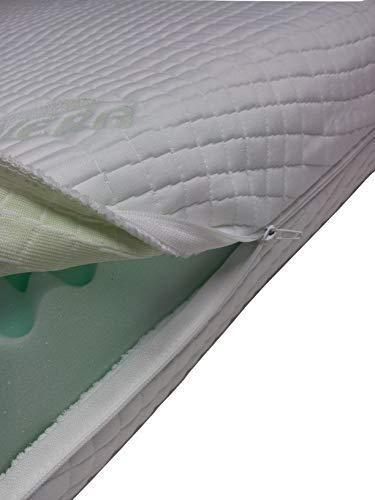 Mail2Mail Matratzenbezug 140x200x15 cm Allergikergeeignet Matratzenauflage, schoner Aloe Vera Luftbett mit 4-seitigem Reißverschluss Topperauflage