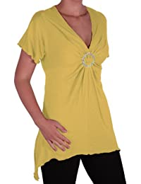 EyeCatch Plus - Solange Womens Asymmetrical Short Sleeve Stretch Diamante Ladies V Neck Top Sizes 14 - 28