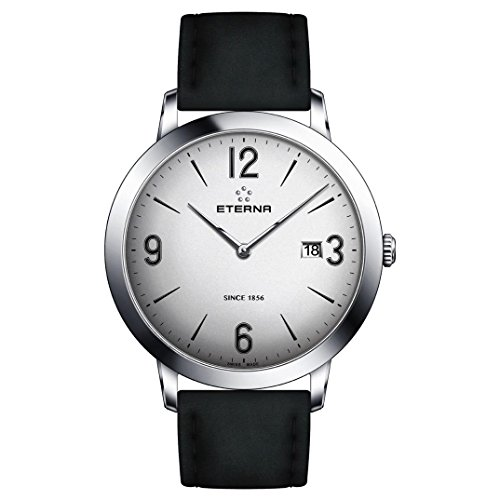 Eterna Men's Eternity 42mm Black Leather Band Steel Case Quartz Silver-Tone Dial Watch 2730-41-13-1396