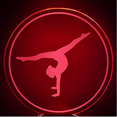 Zlxzlx 3D Led Schlafzimmer Schlaf Leuchte Dekor 7 Farben Nightlights Usb Tischlampe Gymnastik Bewegung Modellierung Gymnast Fans Geschenke