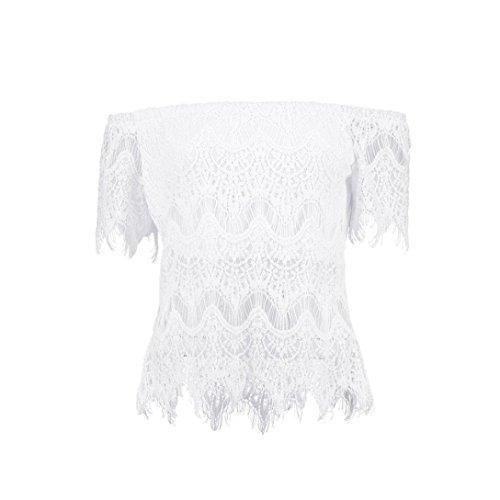 Ularma Damen Bluse Schulterfrei Lace Bluse Trägerlos Off Shoulder T-Shirt Tops Weiß