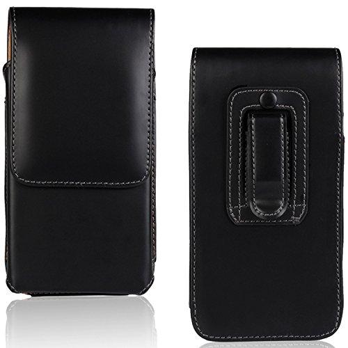 iPhone 6 / 6s / 7/8 Premium Leder Case mit Gürtelclip und Gürtelschlaufe vertikal Gürteltasche mit Magnetclip [kompatibel für iPhone 6 / 6s / 7/8] Schwarz glatt - Vertikal 6 Case Leder Iphone