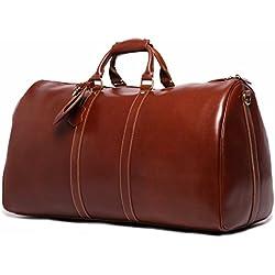 Leathario bolso hombre maleta de cuero maleta de piel bolsos de viaje bolsos de mano bolso grande con gran capacidad de color marrón