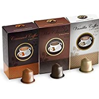 ‏‪Real Coffee Flavored 30 capsules Hot chocolate, Vanilla, Caramel, Nespresso compatible‬‏