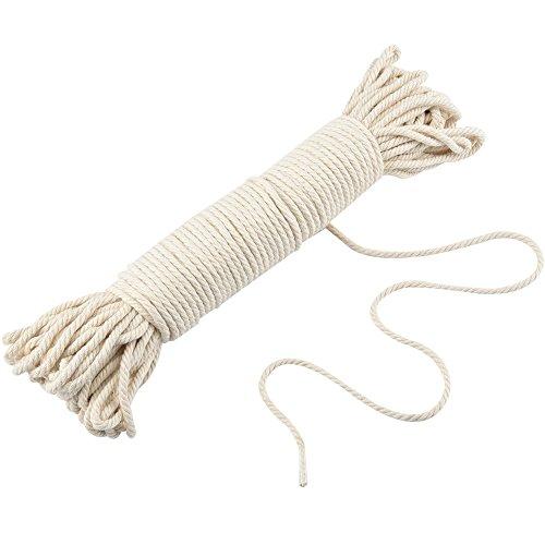 JALAN 4mm Makramee Natur Baumwollschnur, Pflanzen Kleiderbügel Wandbehang häkeln Bohemia Dream Catcher DIY Handwerk Stricken - 50M Weiche Ungefärbt Baumwollegarn Schnur String -