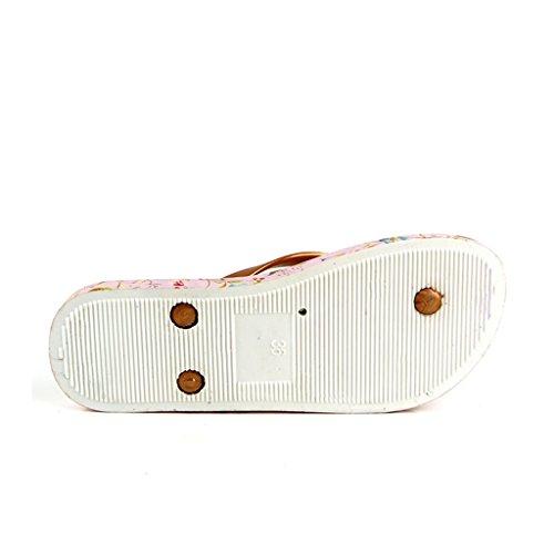 ALUK- Été - sandales plates sandales plates et sandales décontractées ( Couleur : Rose , taille : 35-Shoes long225mm ) Rose
