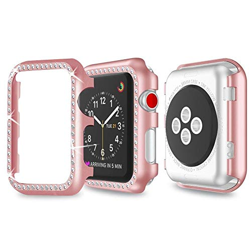 Aottom für Apple Watch 3 38mm Hülle Roségold,Apple Watch 38mm Case Frau Apple Watch Hülle Strass Glitzer Series 3 Schutzhülle iWatch 38mm Bildschirmschutz Aluminium Case Bumper Cover für Apple Watch 38mm