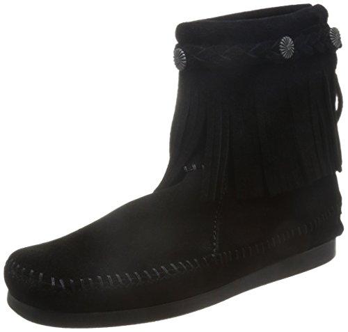 Minnetonka Boots Womens Hi Top Back Zip Fringe Square Toe Black 299 (Black Boots Toe Square)