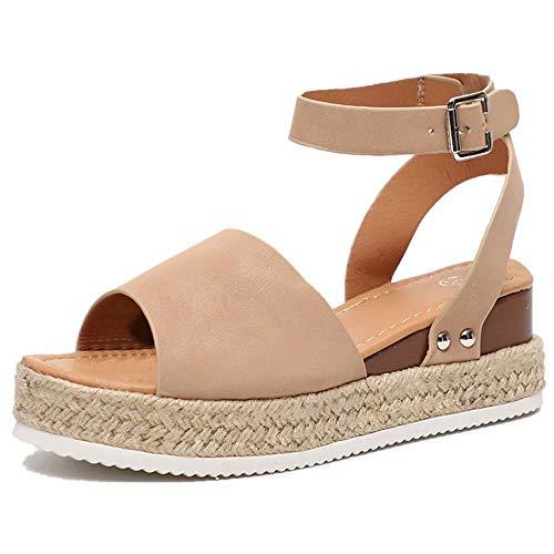 Sandale Femme Compensées Espadrilles Ete Cuir Plateforme Bout Ouvert 5 CM Talon Chaussure Plates Plage Confort Boucle Kaki 39