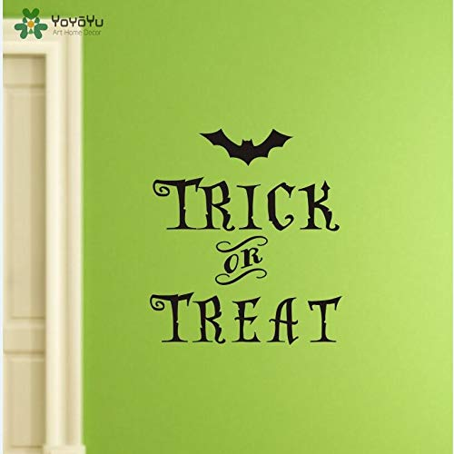57 * 64cm Wall Decal Vinyl Sticker Halloween Bat with Quote Trick or Treat Festival Art Living Room Decoration Removable Wall Paper