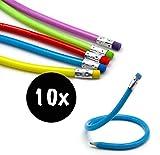 L+H 10x Biegbare Bleistifte in Premium Qualität | Flexible biegsame Bleistifte | Bunte Biegebleistifte | ideal für den Kindergeburtstag als Mitgebsel Mitbringsel o. Gastgeschenk für Jungen u. Mädchen