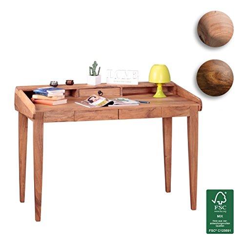 FineBuy Design Schreibtisch Akazie Massiv-Holz 117x76x70 cm / Echt-Holz Sekretär mit 3 Schubladen und Ablagefächern / Computertisch PC-Tisch braun