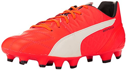 Puma Herren evoSPEED 3.4 Lth FG Fußballschuhe, Orange (lava blast-white-total eclipse 01), 43 EU (Orange Und White Football Cleats)