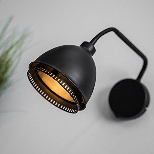 Lampada da parete in stile Vintage, nero opaco, con braccio flessibile e orientabile, interruttore, attacco G9, fino a 40 W