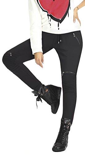 Firstclass Trendstore Bequeme Schlupfhose im Biker-Stil * Gr. S-XXL * Hose Damen Bikerhose Leggings Damenhose (Izzy XL)
