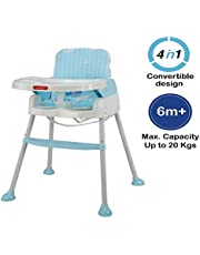 Luvlap 4 in 1 Convertible Baby High Chair Cum Booster Seat (Blue)