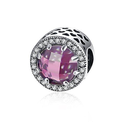 Nykkola, charm con cristallo di zirconia cubica, in argento sterling 925, compatibile con braccialetti pandora, argento, colore: pink, cod. xgpdrsvp140-a