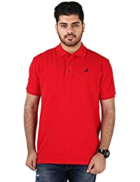 Roman Island Men's Red Solid Half Sleeves Casual T-Shirt