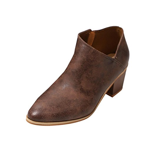 Sandalen Damen LHWY Frauen Teenager Mädchen Stiefel Low Heels Herbst Sommer Knöchel Leder Martin Schuhe Outdoor Casual Kurz Boots Reißverschluss (38, Brown)