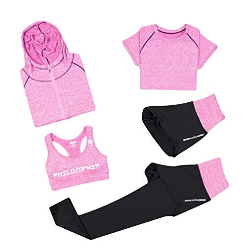 Xinwcang Damen Yoga Kleidung Anzug 5er-Set Gym Fitness Kleidung Set Schnell trocknend Lauf Jogging Trainingsanzug Rosa M (Fitness-kleidung Für Frauen)