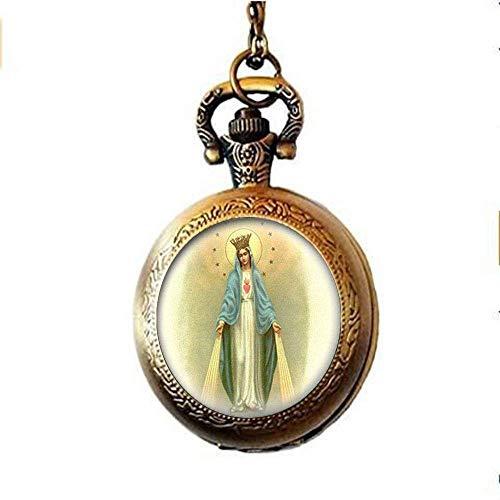Nuestra Señora de la Milagrosa Medalla Reloj de bolsillo Collar Virgen María Joyería Encanto Joyería Cristal Foto Joyería