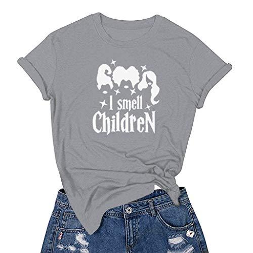 LILIGOD Damen Beiläufige Kurzarm T-Shirt O-Ausschnitt Lose Bluse Frauen Halloween Druck Kurze Hülsen T-Shirt Einfarbig Wild Oberseiten Bequem Sweatshirt Kurzes Oberteil -