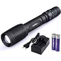 Canwelum - Torcia LED Cree T6 Ultra-luminoso, Torcia LED Ricaricabile di Zoom Professionale, Torcia Tattica LED Potente (Un impostato completo con 2 x batteria litio 18650 & Caricatore Rapido Euro - CE Certificato)