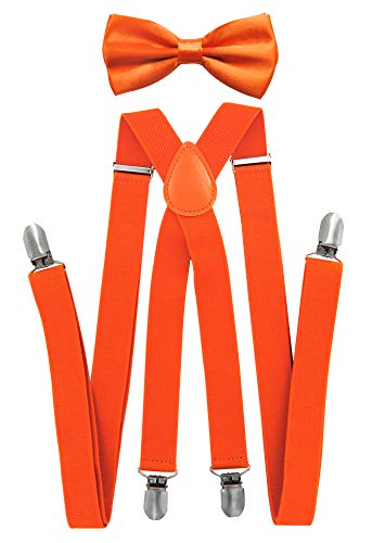 Axy - bretelle per pantaloni da uomo con papillon-4clip a forma di x con tenuta forte arancione (bretelle larghe 2,5 cm). taglia unica