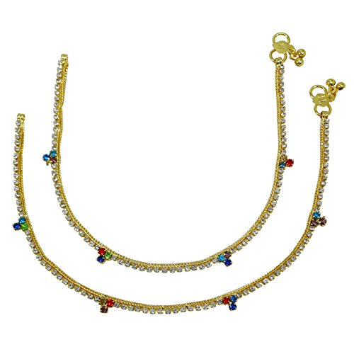 Banithani Foot Chain Ankle Bracelet Gold Plated Barefoot Anklet Wedding Jewellery or 4