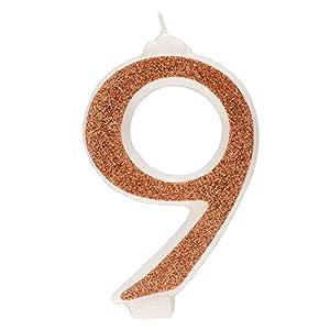 Dekora- Vela de Cumpleaños Numero 9 con Purpurina Dorada (345359)
