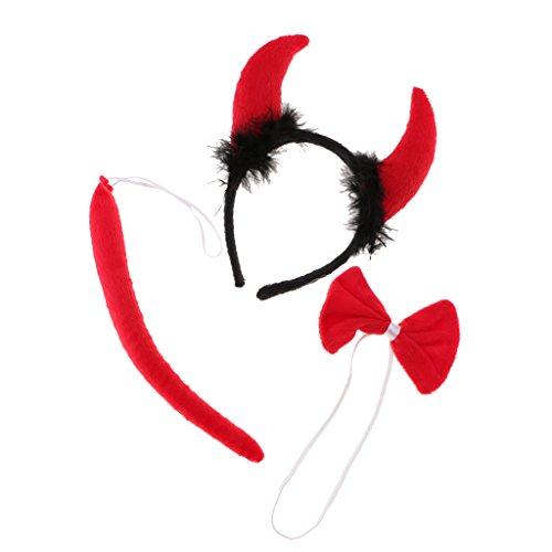 lshörner Kopfband Schleifen Schwanz Set Tier Bauernhof Kinder Kostüm Maskenball - #1 (Zubehör Für Ein Teufel Kostüm)