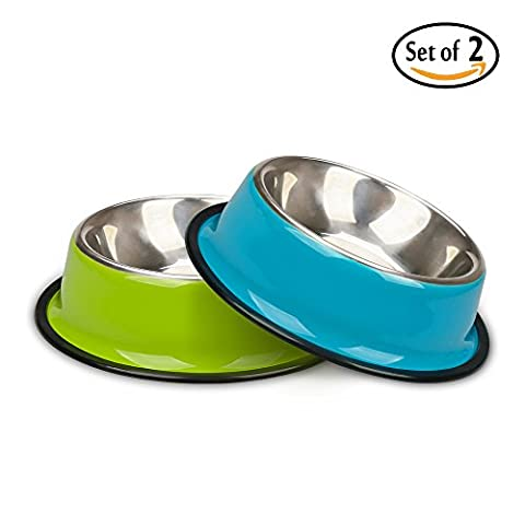 Miaosun Pet Bowls for Cats Non Skid with Natural Rubber Base, Variety of Colors Food Grade Stainless Steel Dog Food And Water Bowls for Travel, Pack of 2 (blue&green)