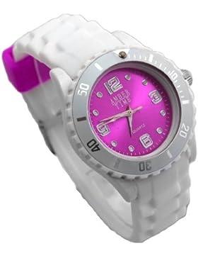 New Style Silikon Armbanduhr in knalligen Farben! - Amber Time Analog Uhr - Lila / Weiß